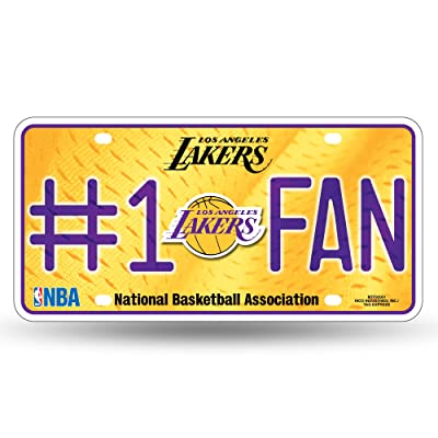 NBA Rico Industries #1 Fan Metal License Plate Tag, Los Angeles Lakers : Sports Fan License Plate Covers : Sports & Outdoors [5Bkhe1403402]