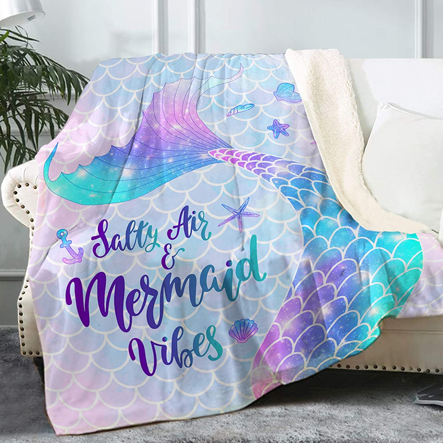 Mermaid Sherpa Throw Blanket
