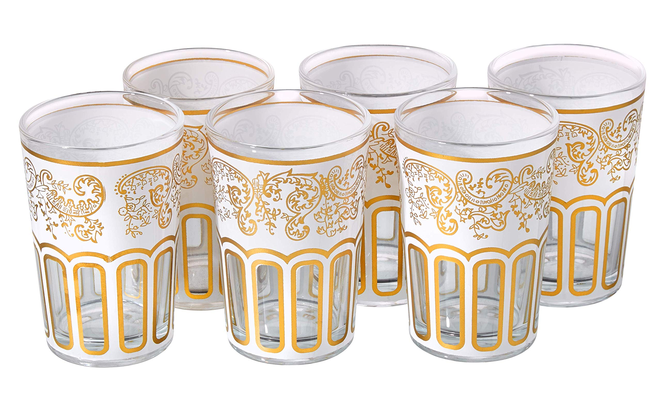 Moroccan Tea Glasses with a Beautiful Classical Moroccan Design White Gold Painted and Decorated by Hand Pack of 6