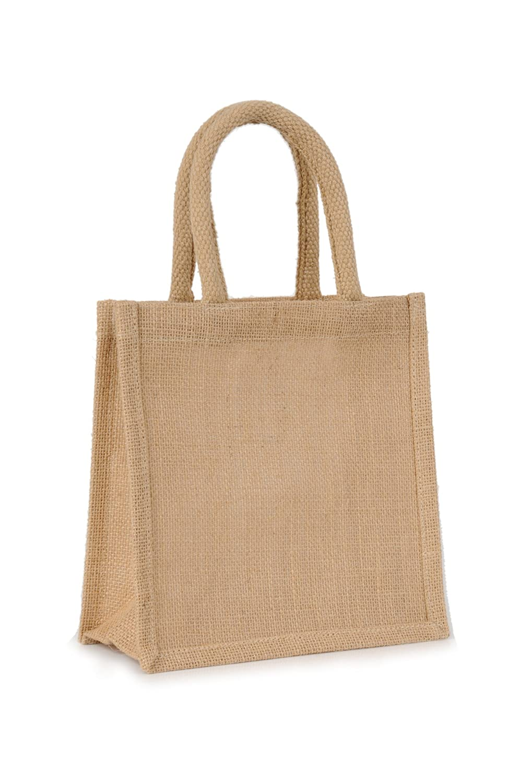 Small Sandwich Natural Jute Hessian Bag (20 x 20 x 10cm)