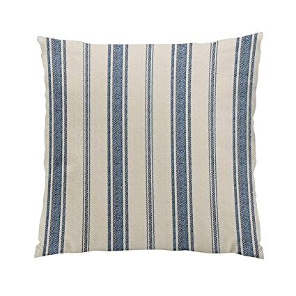 Skully Plush Square Navy Blue French Jacquard Stripe Hidden Zipper Home Sofa Decorative Throw Pillow Cover Cushion Case 20x20 inch Two Sides Design ...