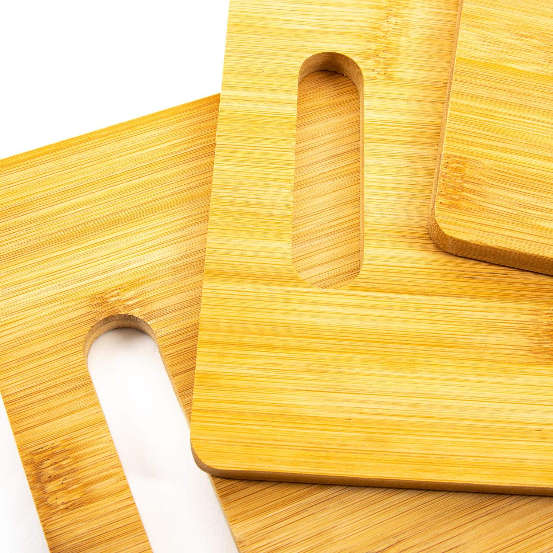 Home Treats Set de 3 tablas de cortar de bamb/ú para cocinar tabla de cortar de cocina