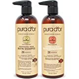 PURA D'OR Professional Grade Anti-Hair Thinning 2X Concentrated Actives Biotin Shampoo & Conditioner (16oz x 2), No Sulfates,