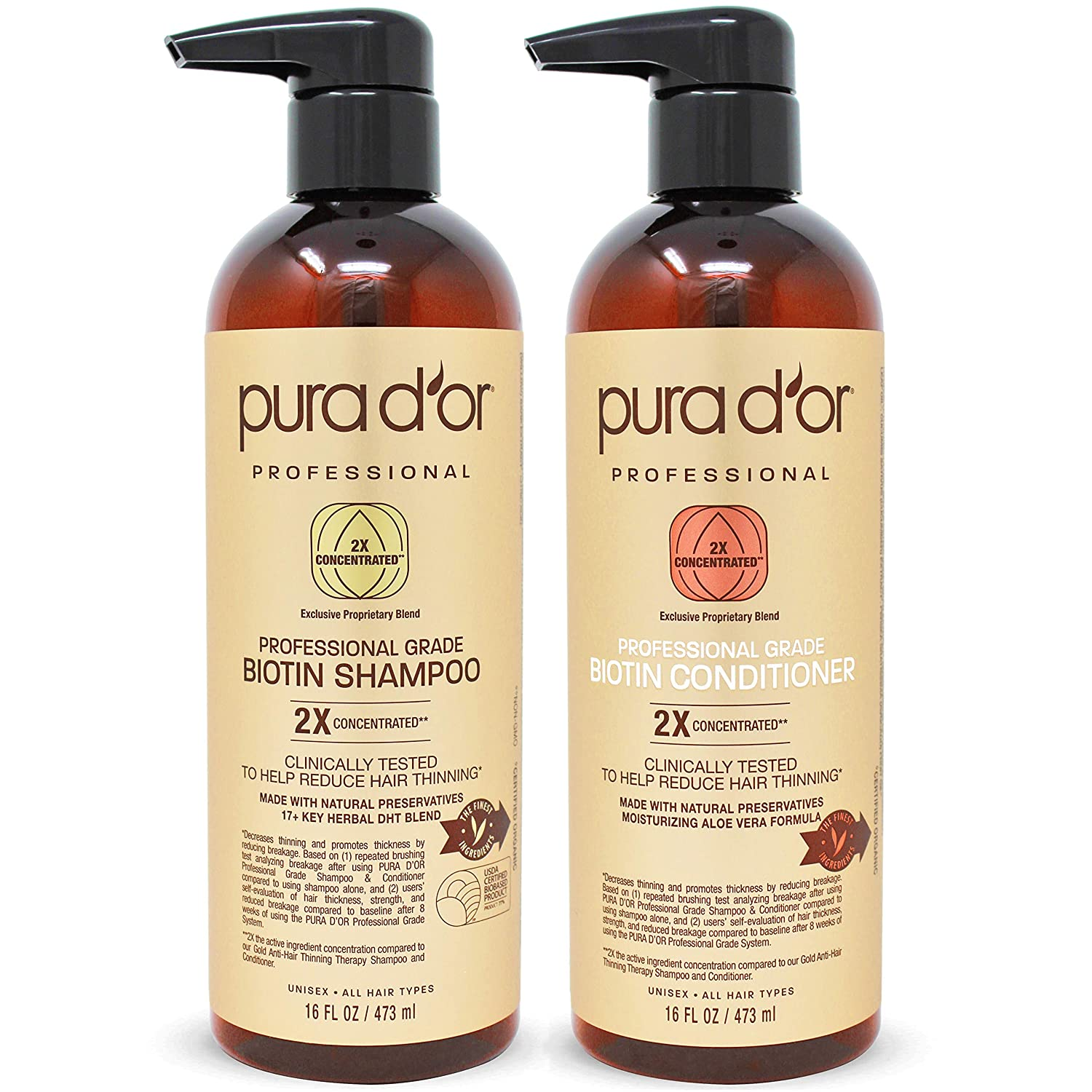 PURA DOR Professional Grade AntiHair Thinning 2X Concentrated Actives Biotin Shampoo  Conditioner