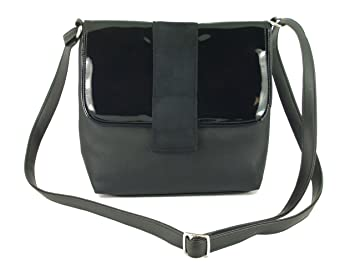 LONI Desire Cross-Body Shoulder Bag Handbag in suede/patent/faux leather