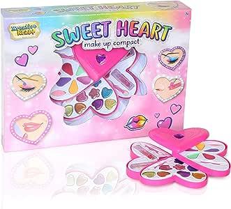 KreativeKraft Estuche De Maquillaje Compacto para Niñas | Maquillaje Infantil | Maquillaje De 20 Piezas En Una Divertida Caja De Almacenamiento De Forma De Corazón Y con Paletas De Sombras De Ojos: