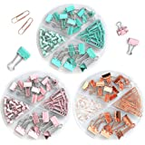 Teskyer 3 in 1 Binder Clips Paper Clips Push Pins Set, 216 Pcs Assorted Sizes Office Essential Clips for Organize Papers or D