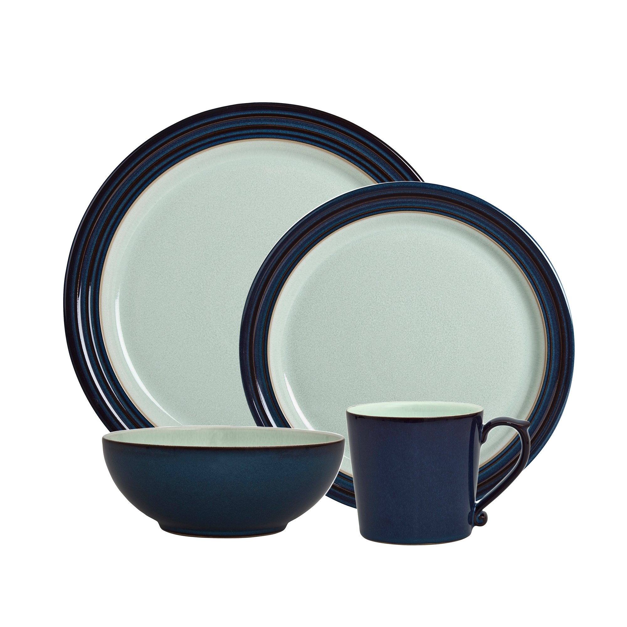 Denby USA Peveril 4 Piece Place Setting Dinnerware Set, Blue