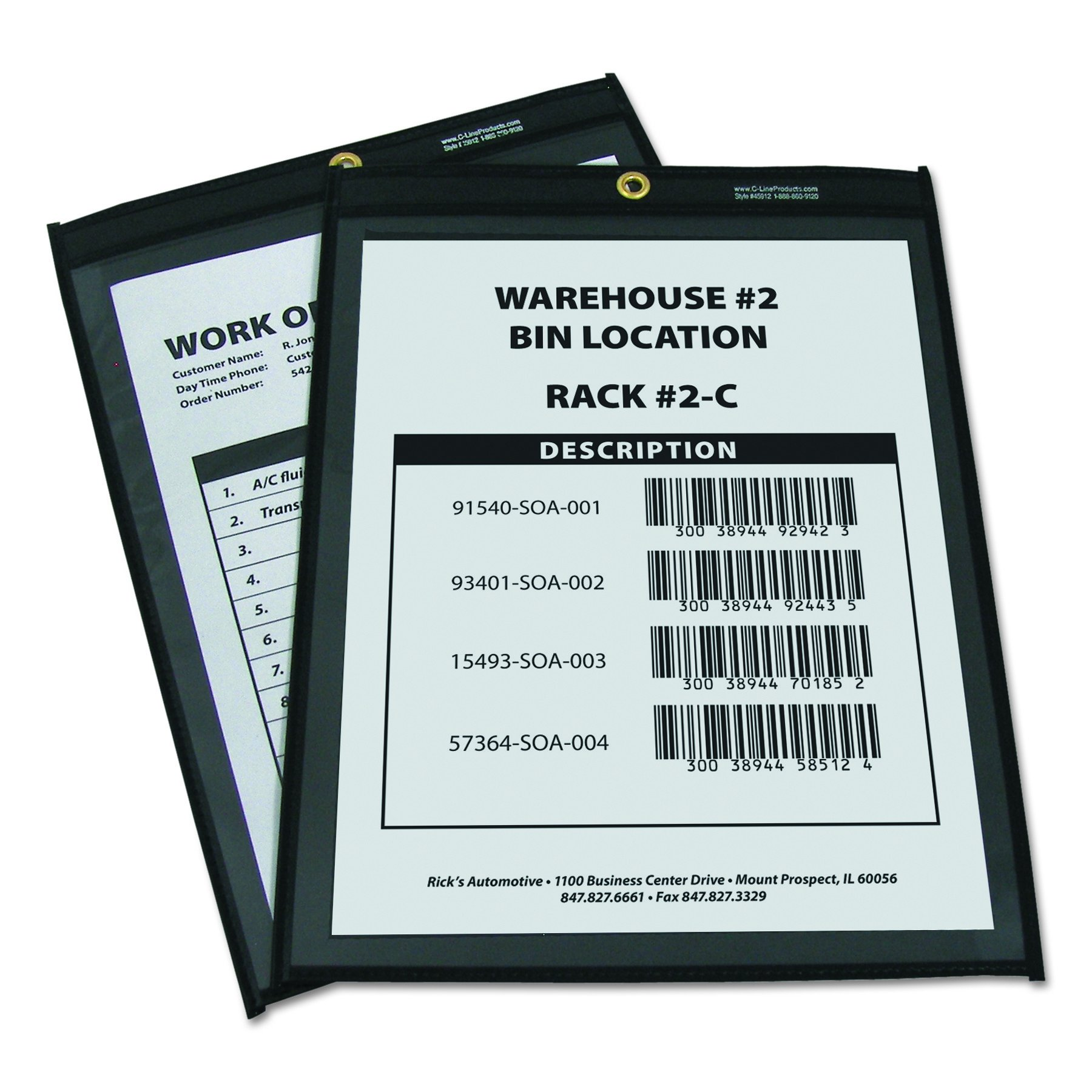 C-Line 45912 Shop Ticket Holders, Stitched, One Side Clear, 9'' x 12'' (Box of 25) by C-Line (Image #2)