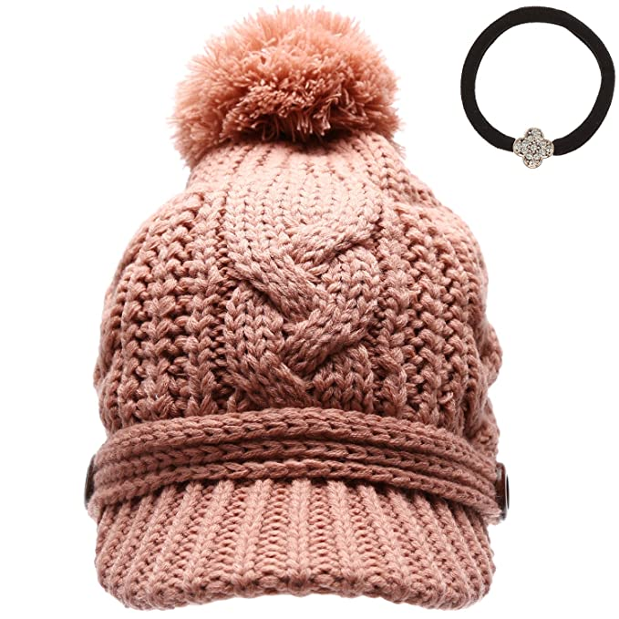 3a0edcf8c7fd3 MIRMARU Women s Thick Cable Knitted Skully Beanie Visor Cap Button Pom Pom  with Scrunchy (Dusty