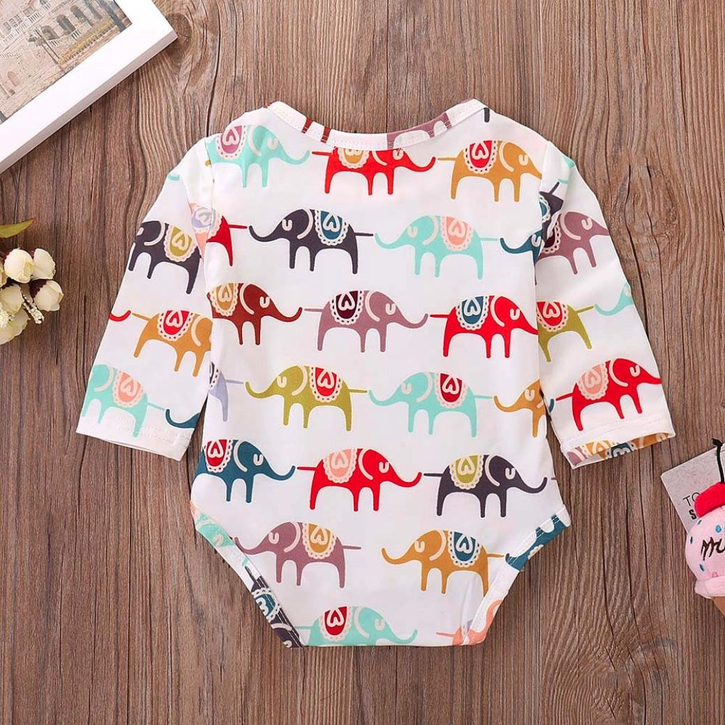 Pollyhb Baby Girls Boys Romper Newborn Baby Long Sleeve Cartoon Elephant Romper Jumpsuit Cloth Outfits