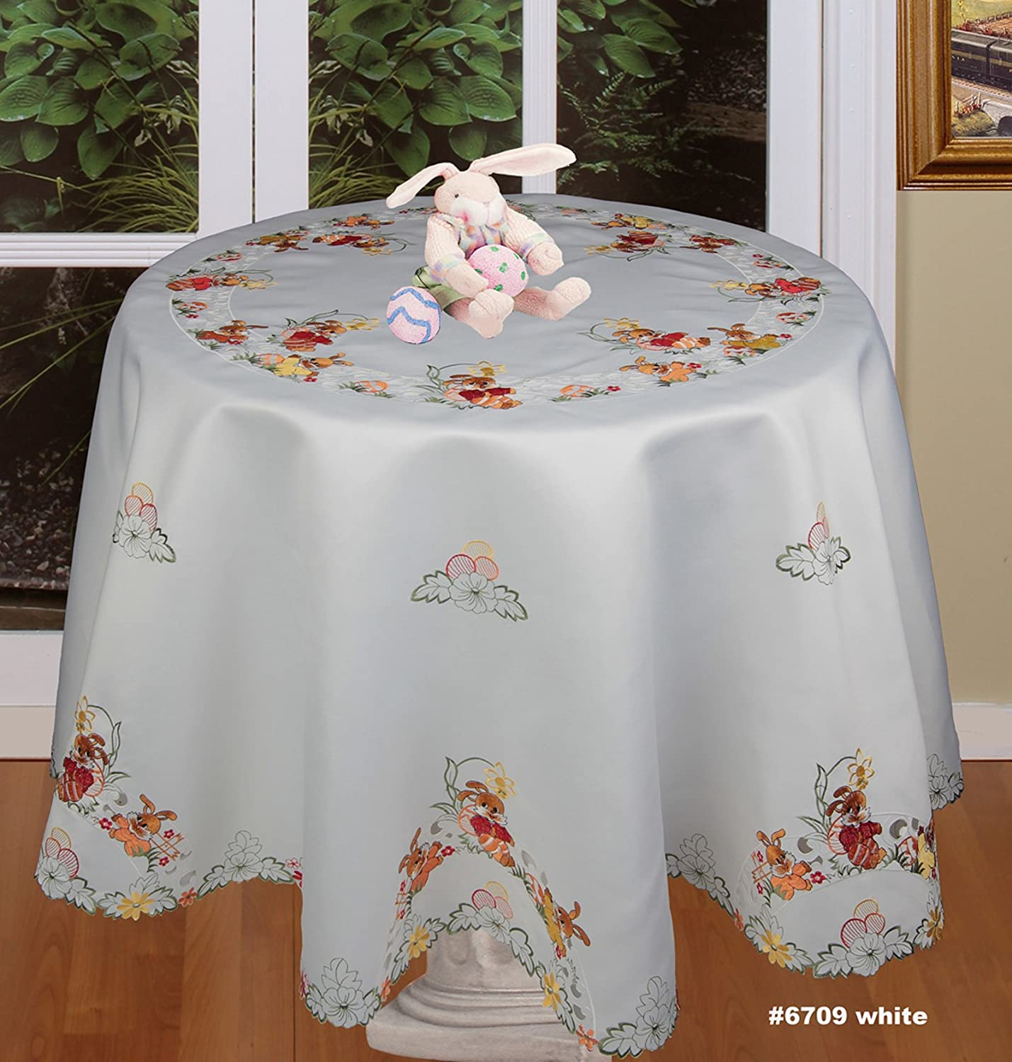 Embroidered Easter Bunny Rabbit Chicken Rooster Egg Tablecloth Placemat Runner