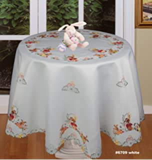 Creative Linens Spring Embroidered Easter Bunny Egg Floral Tablecloth 88 Round 12 Napkins White
