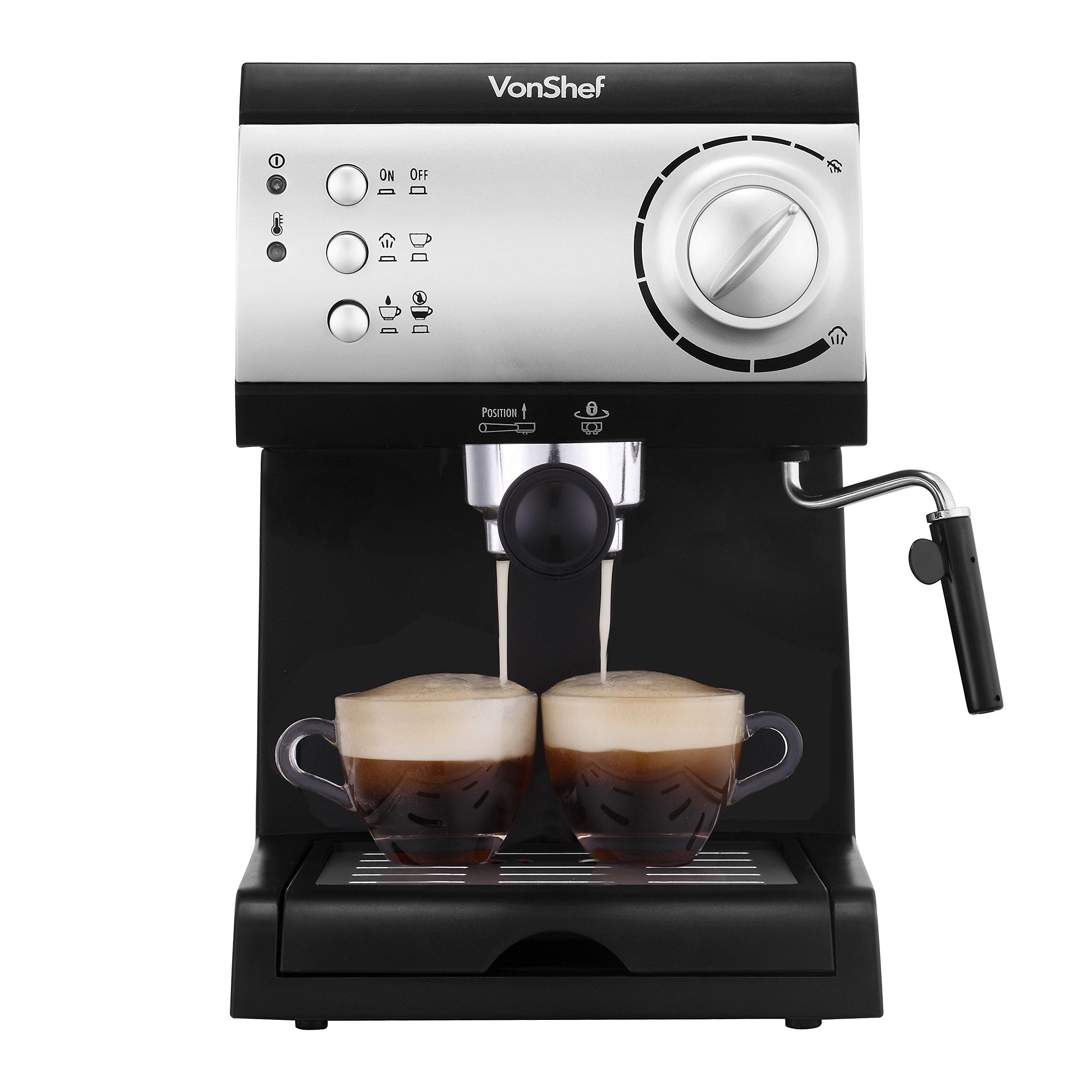 VonShef Electric 15 Bar Automatic Espresso and Cappuccino Coffee Maker Machine by VonShef
