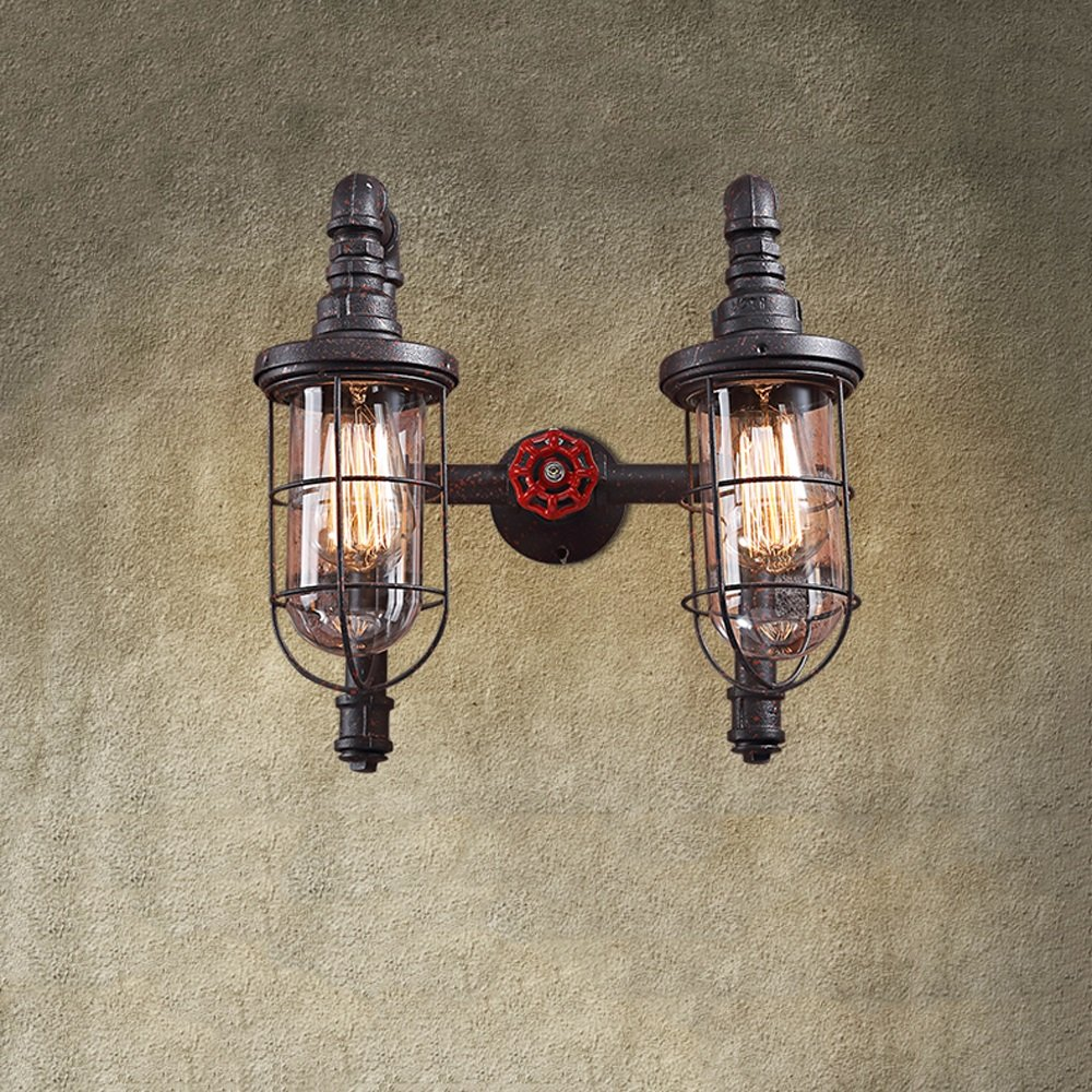 31-40w wall lamp Retro industrial style Iron + glass material E27 bulb2 Bar Bedroom Restaurant Coffee shop (rust colored)
