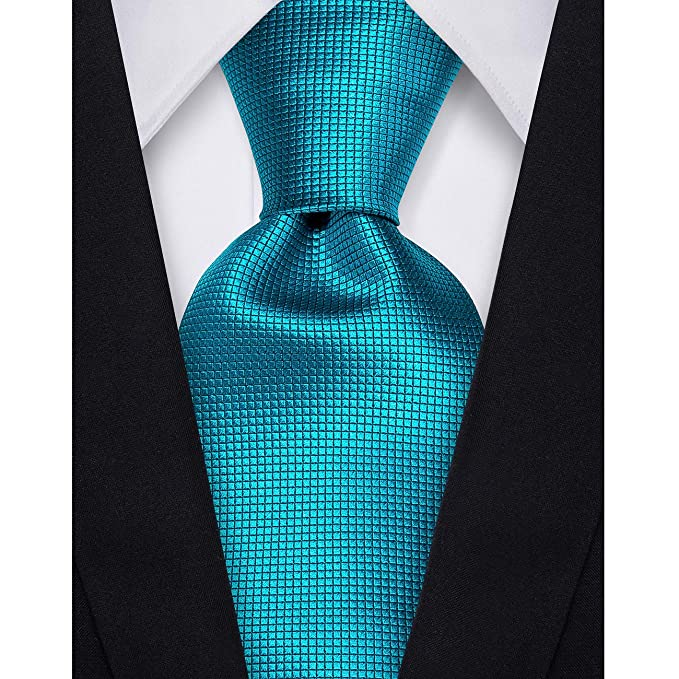 759492a2fa8e Amazon.com: Dubulle Mens Teal Tie and Pocket Square Woven Silk Necktie Set  with Cufflinks: Clothing