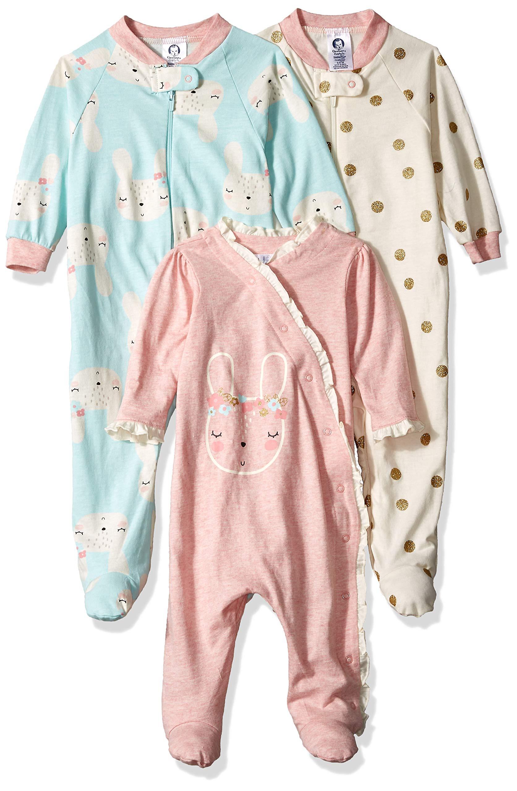 Gerber Baby Girls' 3-Pack Organic Sleep 'N Play