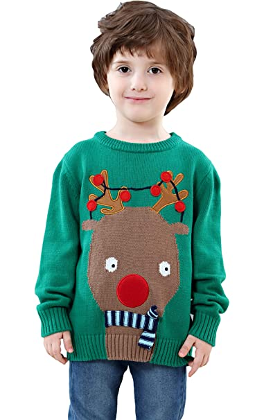 Ugly Christmas Sweater Kids.Shineflow Children Kids Rudolph Reindeer Red Nose Ugly Christmas Sweater Jumper Green