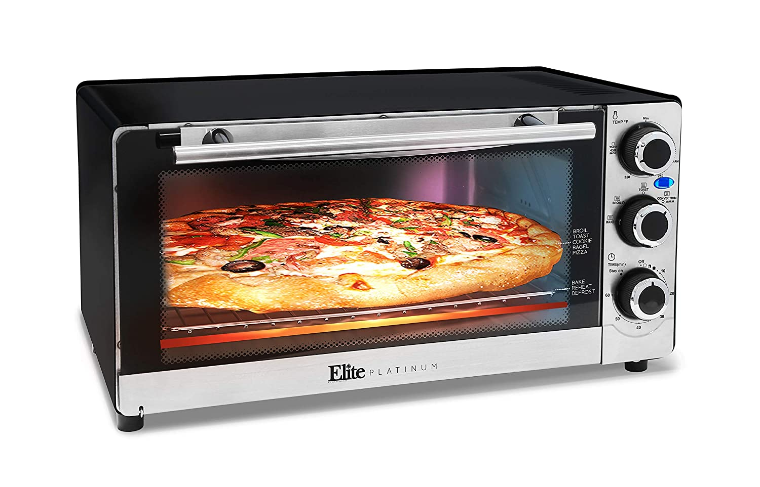 Maximatic ETO-140C Elite Platinum Stainless Steel 6 Slice Convection Toaster Oven Silver
