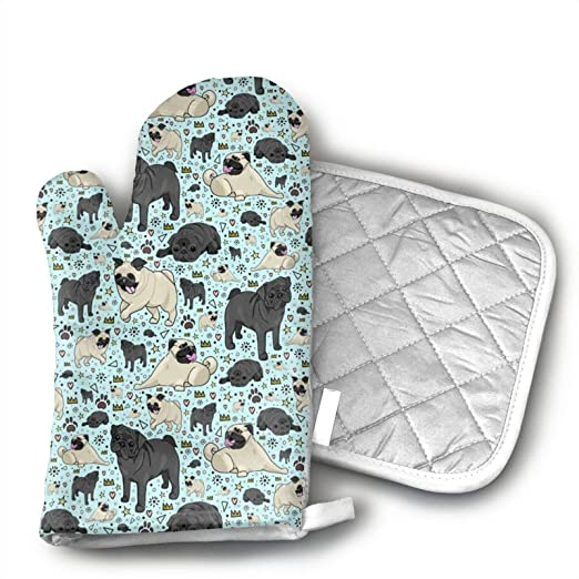 antcreptson Pug Life Oven Mitt and Potholder Set,Heat Resistant – Handle Hot Items Safely – Non-Slip Grip Oven Mitt and Pot Holder with Hanging Loop