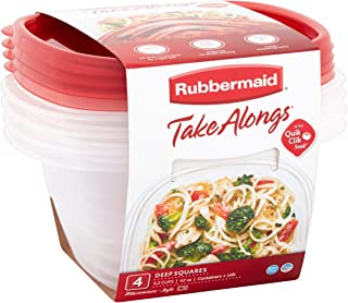 product image for Rubbermaid TakeAlongs Deep Square Food Storage Containers, 5.2 cups, 8 pack (4 lids + 4 containers)