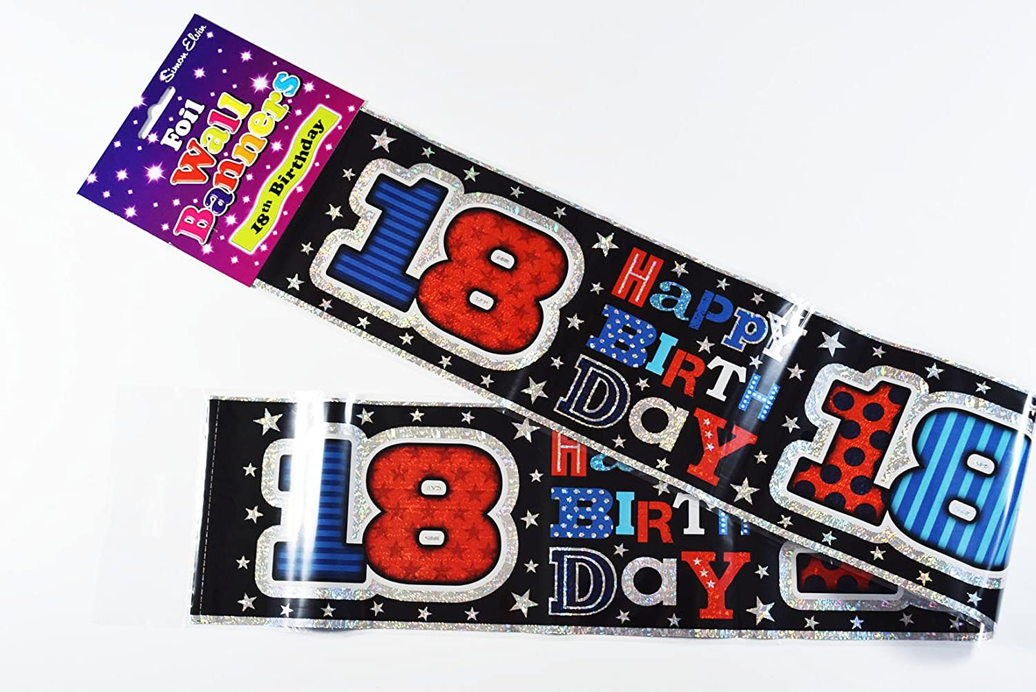2.6m Boy Age 18 Male Blue /& Silver Foil Party Banner Happy 18th Birthday