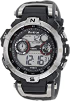 Armitron Sport Men's 44mm Silvertone Black Chronograph Digital Watch