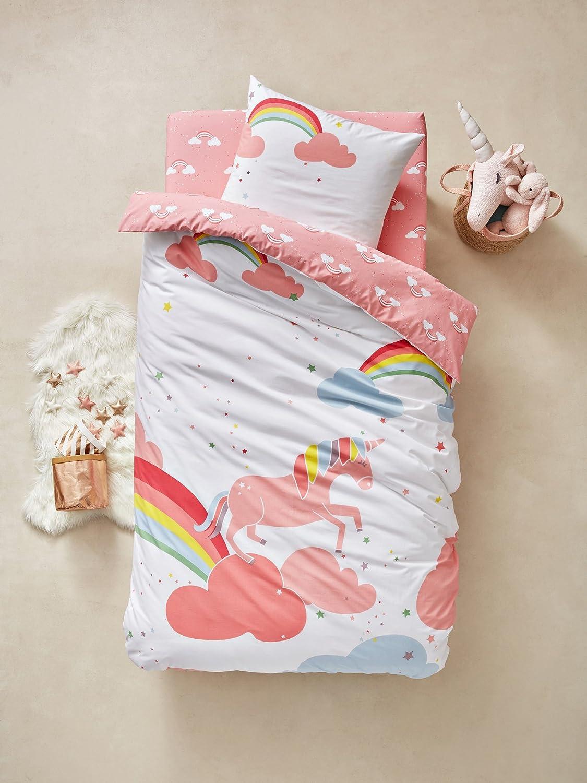 Vertbaudet sábana bajera infantil unicornio, algodón, Rosé Imprimé, 89