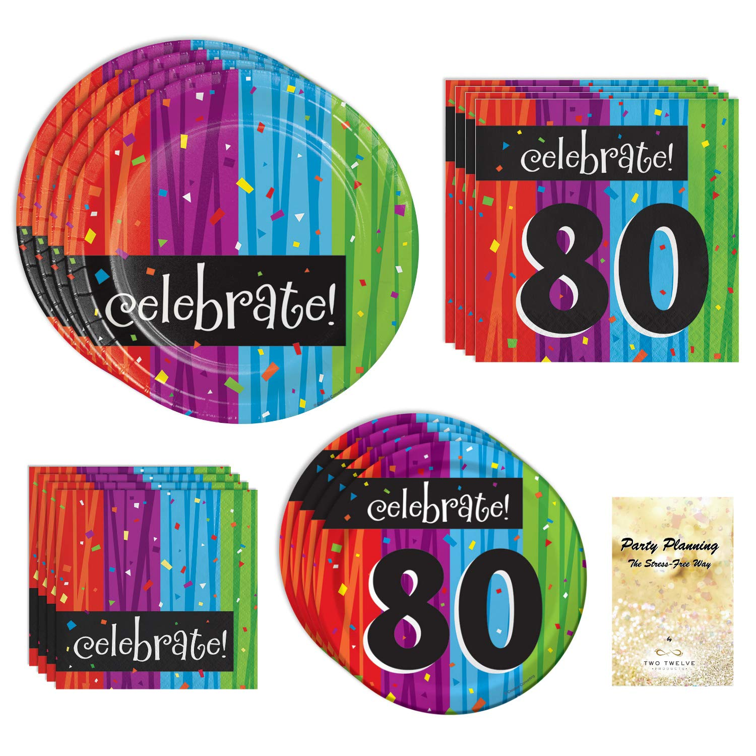80th Birthday Party Supplies, Colorful Milestone Celebrations Design, Bundle of 4 Items: Dinner Plates, Dessert Plates, Lunch Napkins and Beverage Napkins