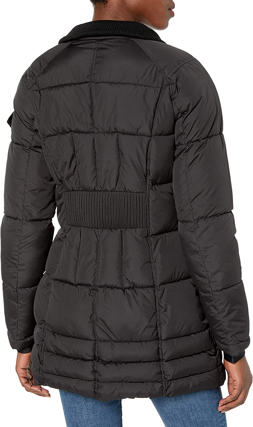 HFX Womens 3//4 Puffer with Full Faux Fur Hood Down Alternative Coat