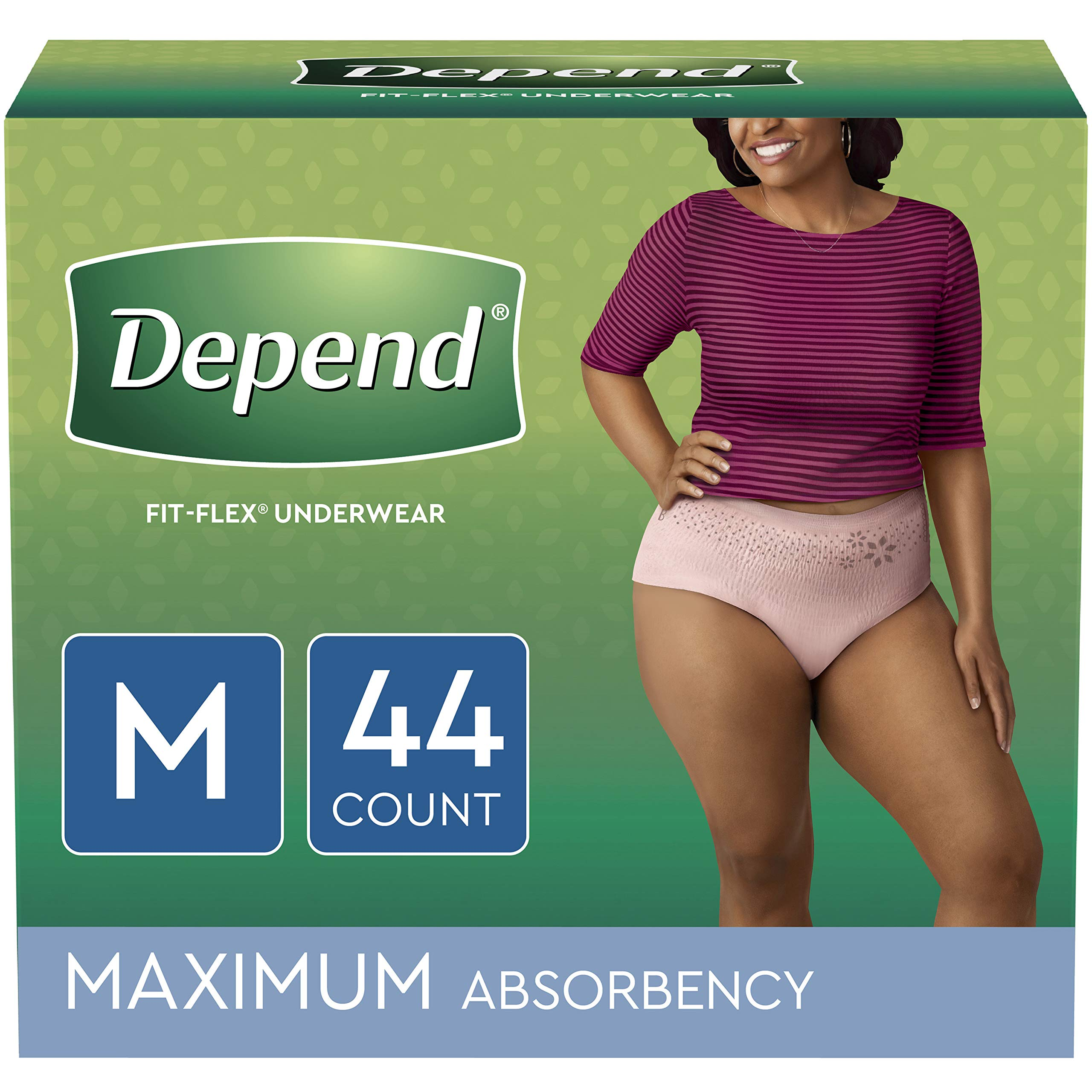 Depend FIT-FLEX Incontinence Underwear for Women, Disposable, Maximum Absorbency, M, Blush, 44 Count