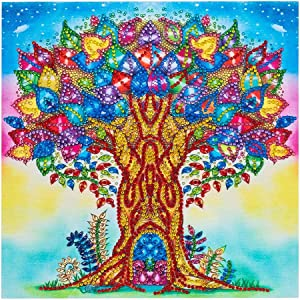 Alloyseed 5D Diamond Painting DIY Special Shape Rhinestones Painting by Diamonds Home Wall Decoration Artwork Colorful Season Tree Flower 11.8x11.8""