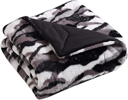 LUXURY SUPER ULTRA SOFT COZY PLUSH WARM MINK THROW BLANKET FUR BLACK ~ BEAUTIFUL
