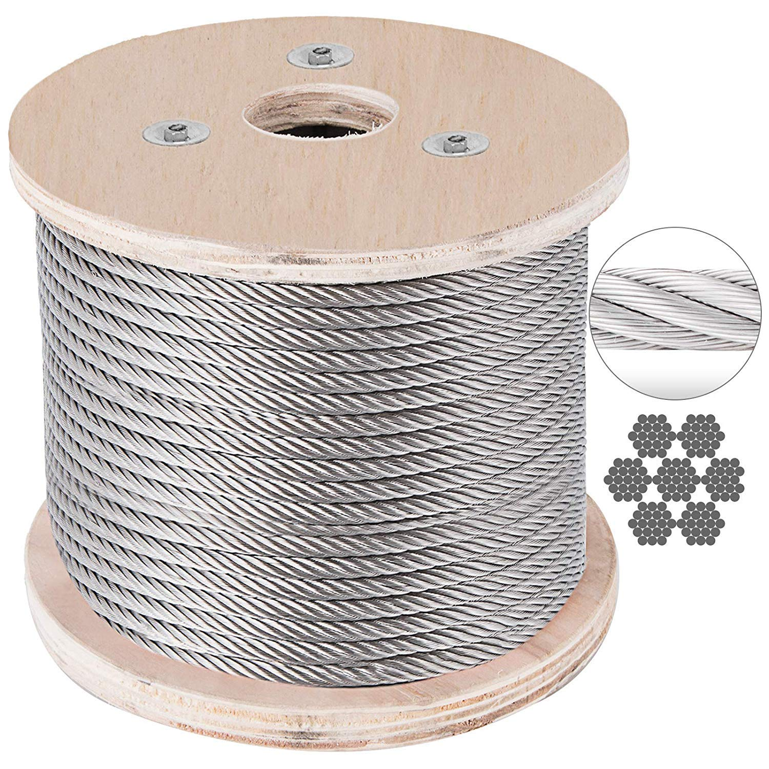 BestEquip Stainless Steel Cable 7 x 19 Aircraft Steel Cable Wire Rope SUS316 Winch Rope 1/4'' 200FT for Railing Decking DIY Balustrade