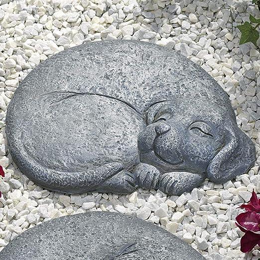 Bits and Pieces - Piedra de paso para perro durmiente - hacia la derecha - Arte decorativo para jardín: Amazon.es: Jardín