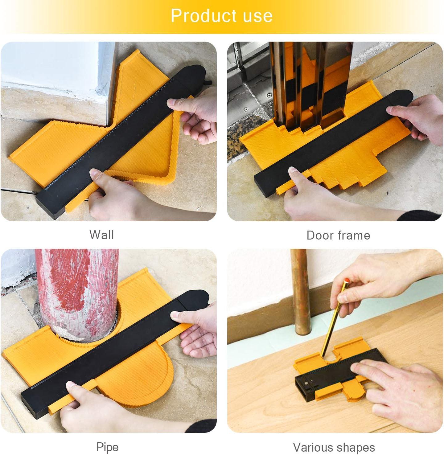 Calibrador de contornos Widen con bloqueo pl/ástico amarillo 25 cm medidor de duplicaci/ón de contorno con formas irregulares para medir esquinas y contorneadas