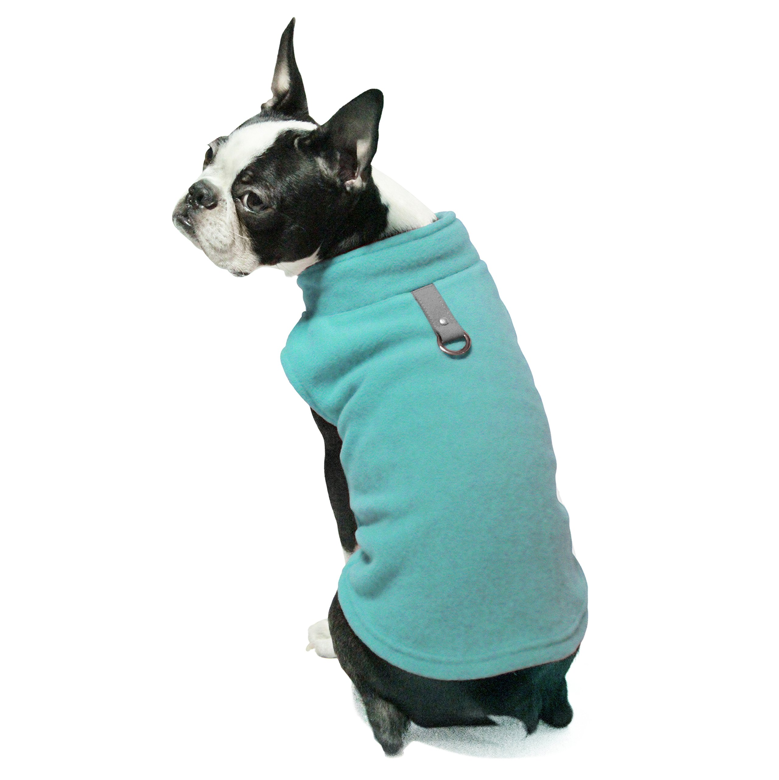 Gooby Every Day Fleece Cold Weather Dog Vest Small Dogs, Turquoise, Large