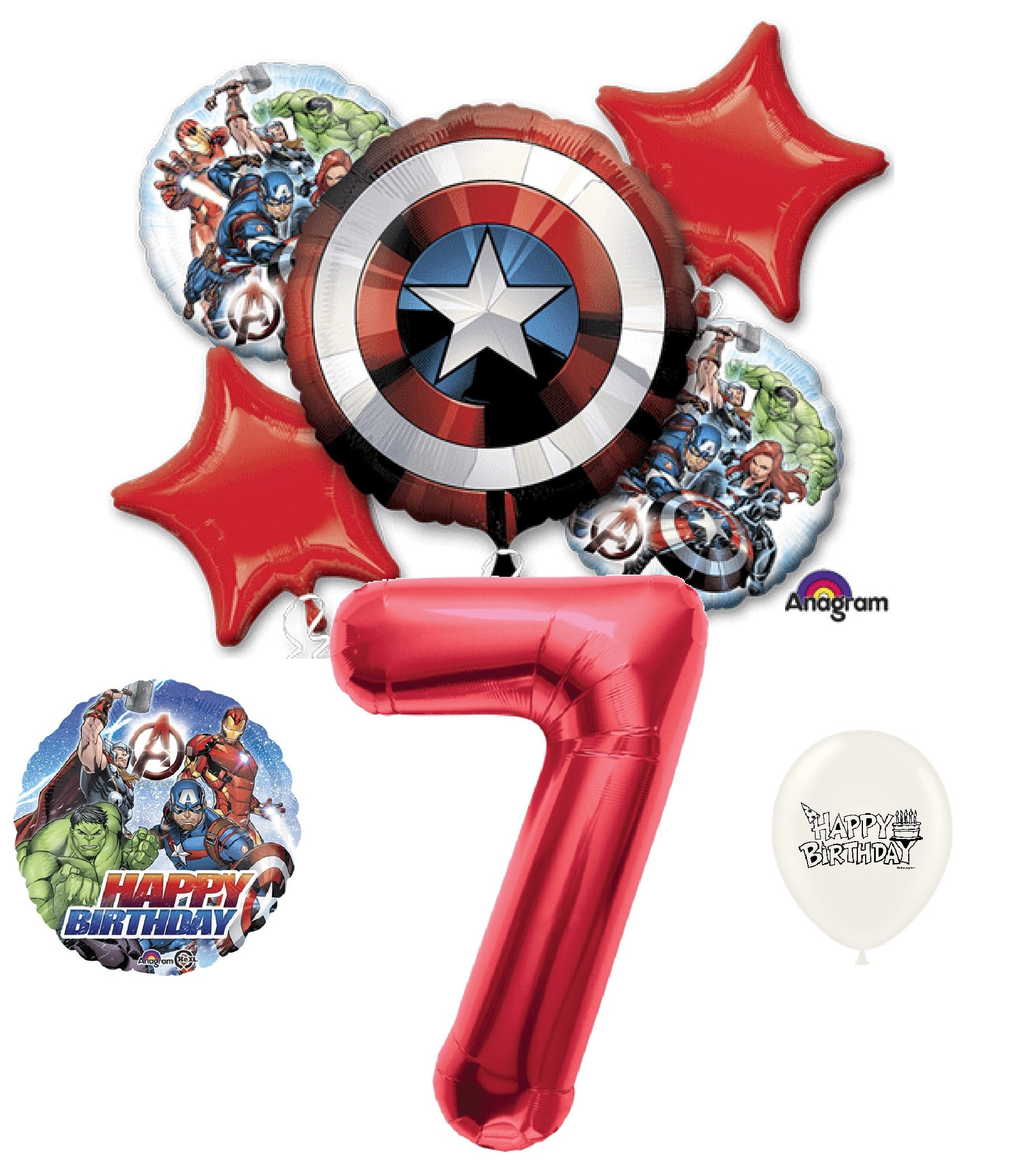 7th Birthday Red Number Avengers Captain America Shield Balloons Bouquet Bundle