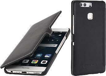 StilGut Book Type, Housse en Cuir avec Clip pour Huawei P9, en Noir Nappa