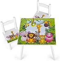 Leomark Weiß Tisch und Stühle für Kinder, 1 Tisch und 2 Stühle Motiv: Dschungel Tiere, Kindertisch Kindersitzgruppe Sitzgruppe für Kinder Kinderstuh