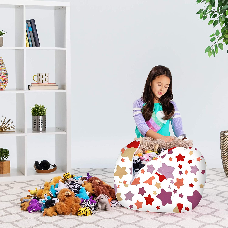Canvas Coloring Fabric Posh Stuffable Kids Stuffed Animal Storage Bean Bag Chair Cover Fun World X-Large-48 Childrens Toy Organizer