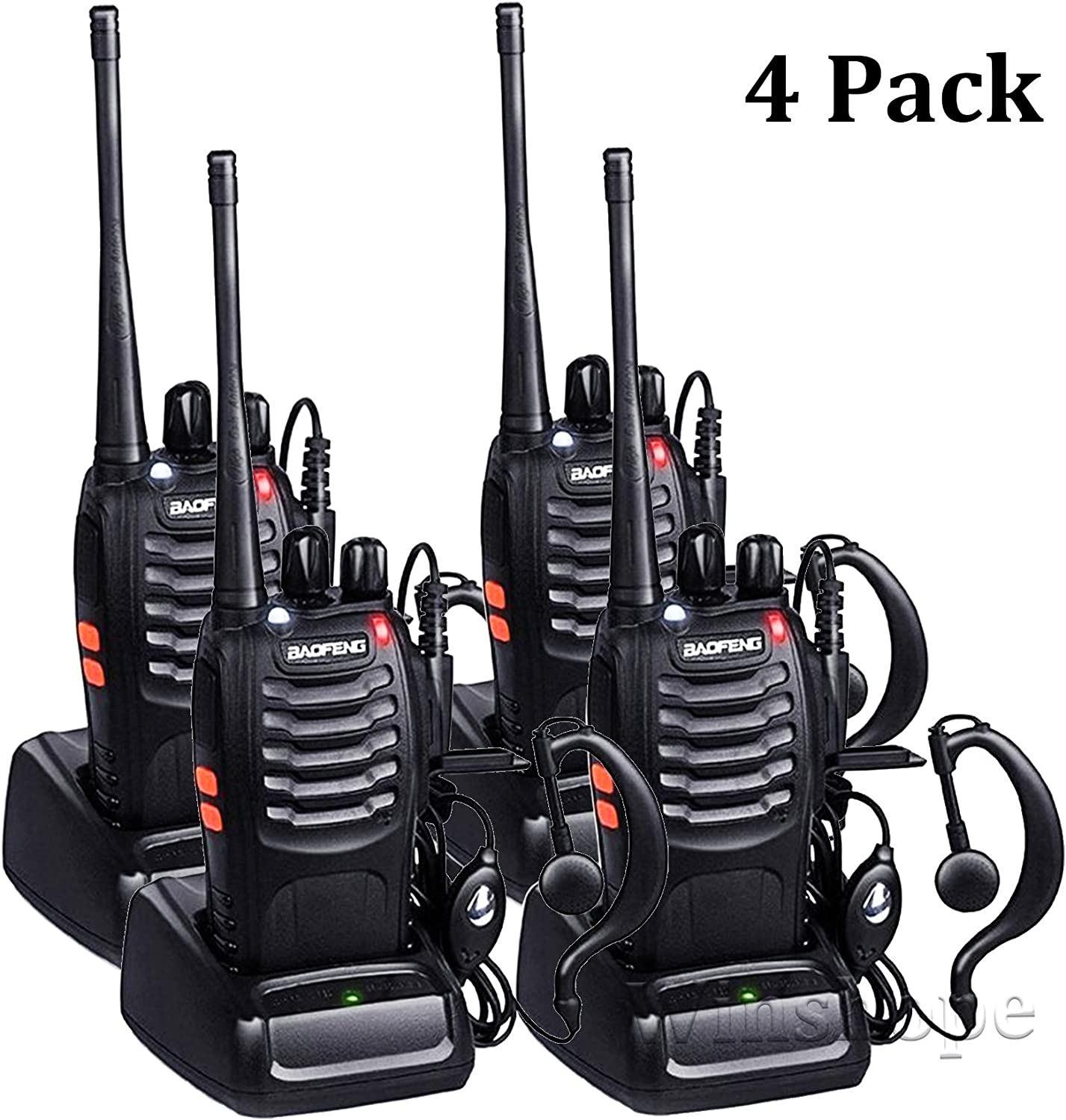 Walkie Talkies Radios Baofeng Radio BF-888s Long Range with Antenna Earpiece Mic Rechargeable 2 Way Radio UHF Comunicacion Walkie Talkie with Headsets Pack of 4