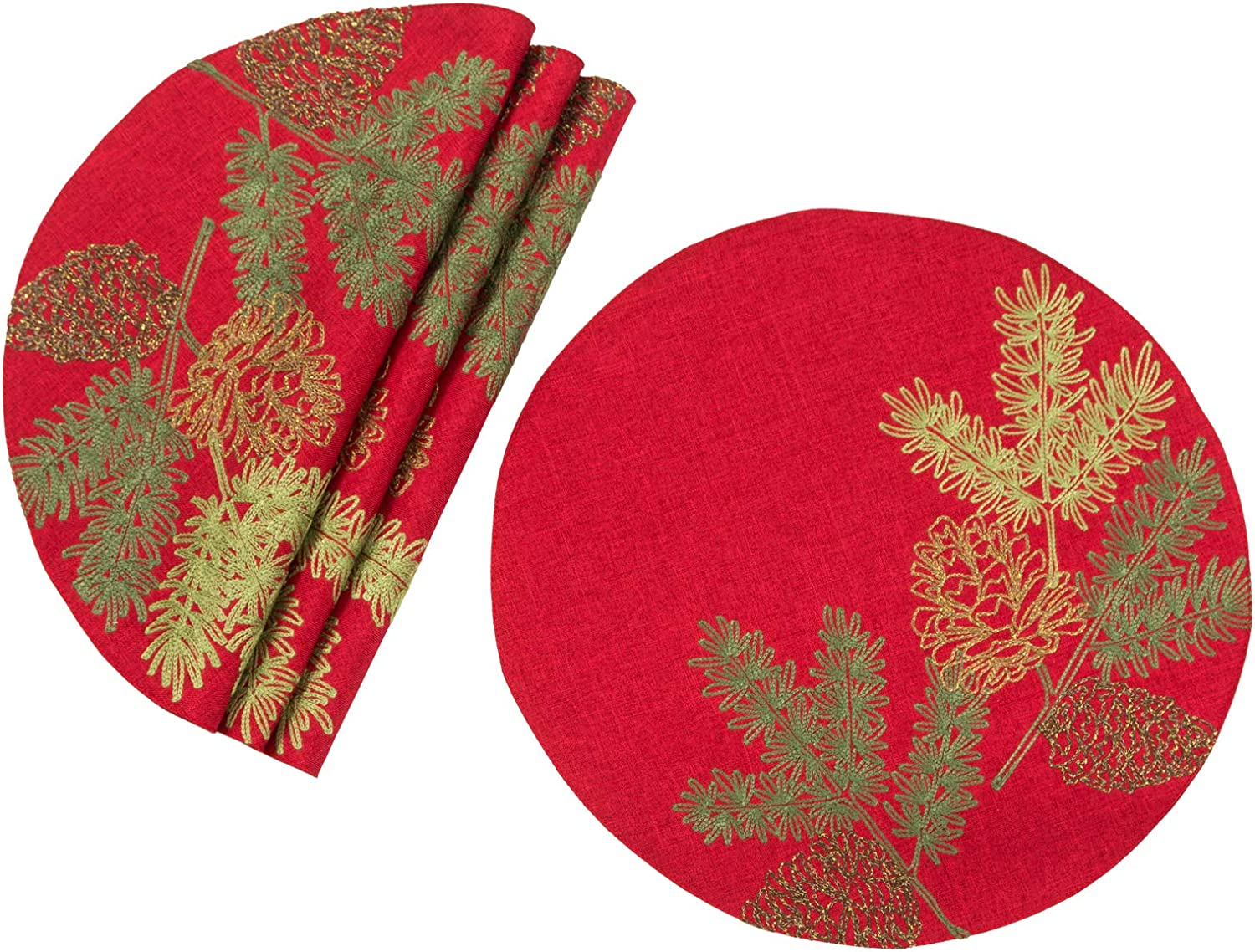 Xia Home Fashions Christmas Pine Tree Branches Placemat, 16''Round, Red