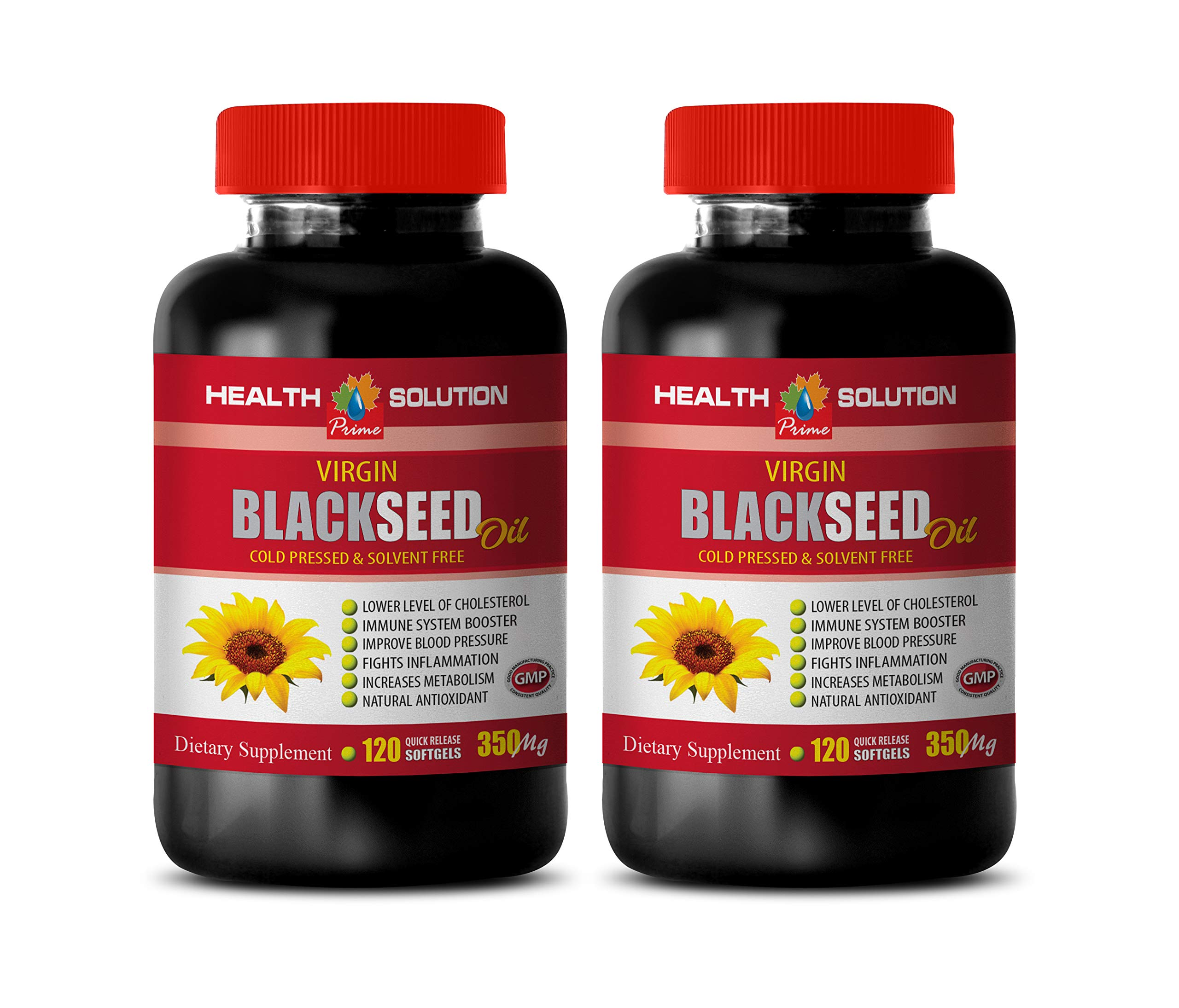Anti inflammatory Vitamins - Black Seed Oil 350 MG - Cold Pressed & Solvent Free - Black Seed Oil Anxiety - 2 Bottles 240 Softgels