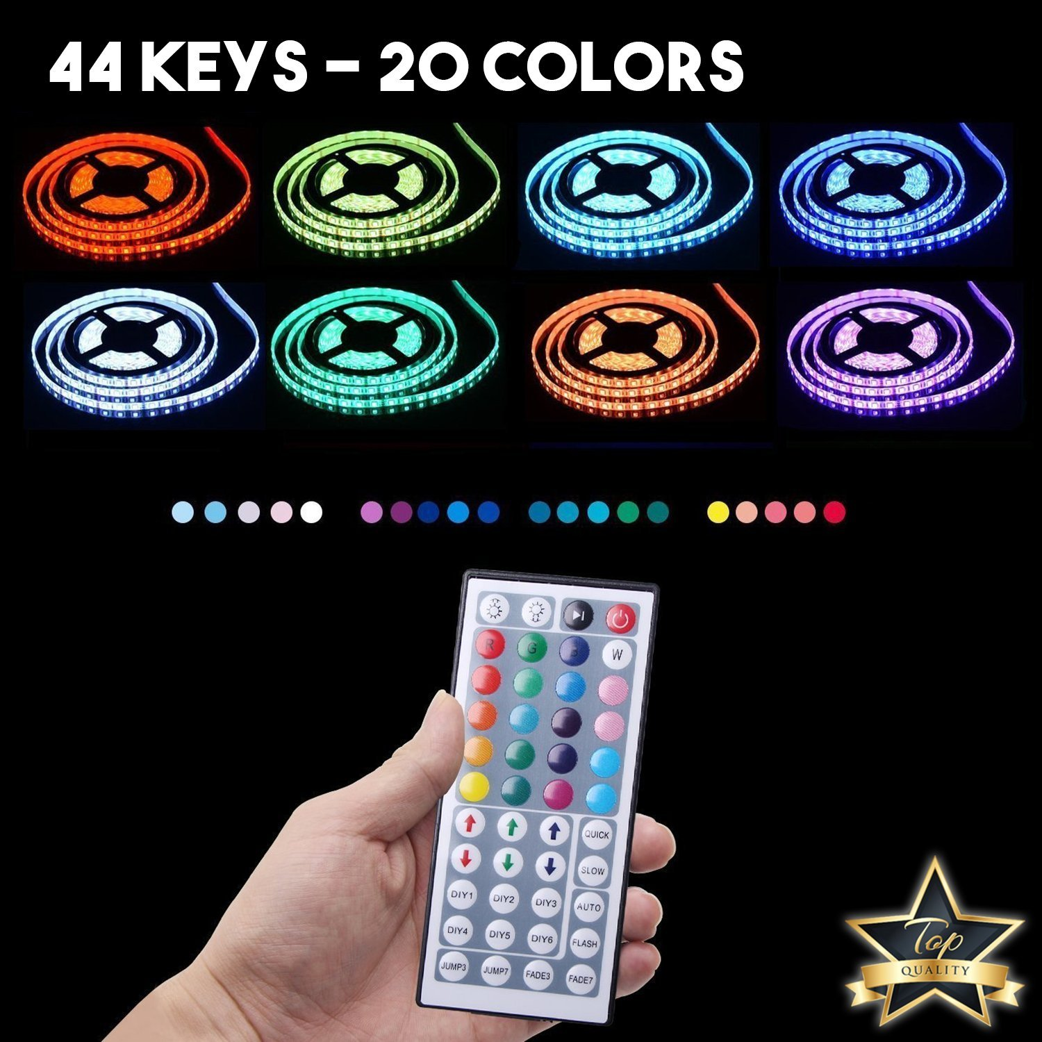 LED Strip Lights - Waterproof Led Tape Lights - Dimmable Multicolored LED Lights Kit 32.8ft/10m, 300LEDs, 5050RGB with 44Key Remote Controller and Power Adapter for Home, Kitchen, Cabinet Decoration by DOPTIKA (Image #3)