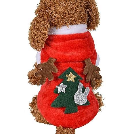 INTERNET Ropa para Perros, Lindo Perro Elk Trajes De Navidad Sudaderas con Capucha Ropa para Mascotas (L, Rojo)