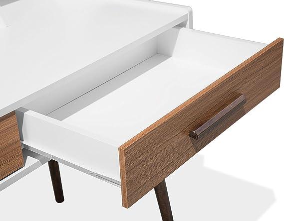 Moderner Schreibtisch hellbraun//grau mit Schubladen Alloa