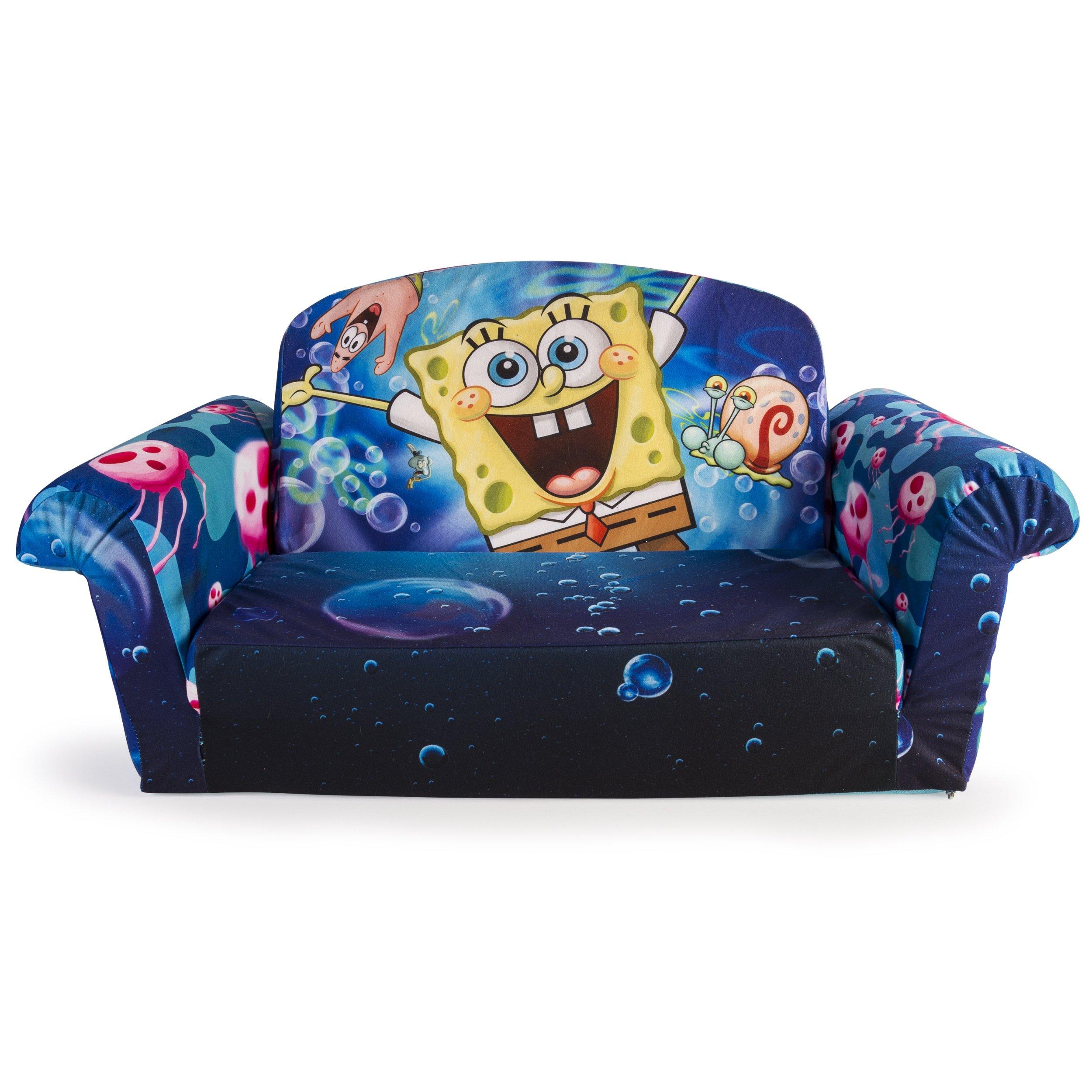 Marshmallow Furniture, Children's 2 in 1 Flip Open Foam Sofa, Nickelodeon SpongeBob Square Pants, by Spin Master