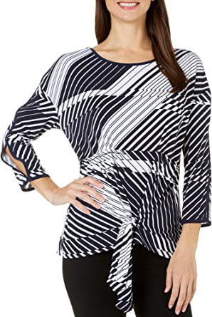 Rafaella Womens Off The Grint Printed Tie Front Top