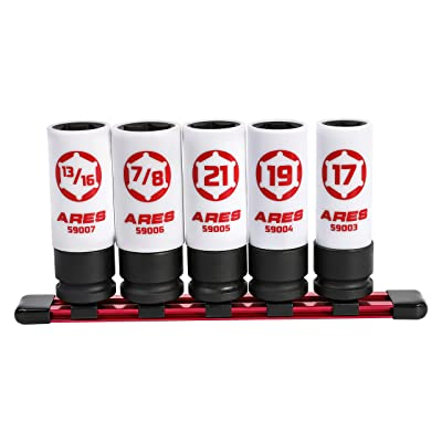 ARES 59000-5-Piece 1/2-Inch Drive Non-Marring Lug Nut Socket Set - Protective Sleeves and Inserts Prevent Damage to Wheels and Lugs - Storage Rail Included: Industrial & Scientific